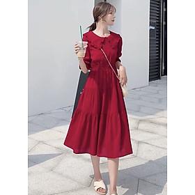 Đầm đỏ cổ bèo 3 tầng