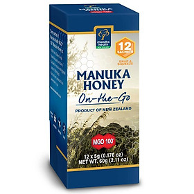 Manuka Health MGO 100+ Manuka Honey 60g On The Go 12 Snap Pack  (Not For Sale In WA)