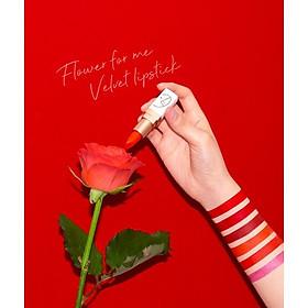 Son Lì Lâu Trôi (màu Đỏ) No 2_Javin De Seoul Flower For Me Velvet Lipstick #2 (Classic Red)-2