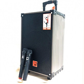 Loa kẹo kéo karaoke j109 kèm 2 micro - Có nút chỉnh Bass Mic, Tress Mic