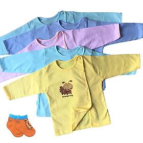 Combo 10 áo sơ sinh cotton tay dài màu cài nút lệch Thái Hà Thịnh ( Tặng kèm 1 đôi tất cotton amigo nhiều màu)