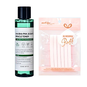 Nước hoa hồng dưỡng ẩm và ngừa mụn Some By Mi AHA- BHA- PHA 30 Days Miracle Toner 150ml tặng kèm bông nở rửa mặt siêu xinh