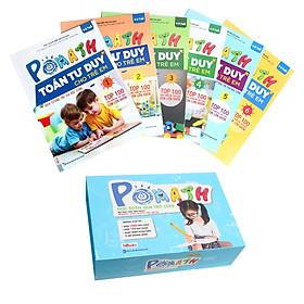 Combo Sách PoMath - Toán Tư Duy Cho Trẻ Em 4-6 Tuổi (6 cuốn) và bộ học liệu kèm sách (quà tặng sổ nhật ký và bút)