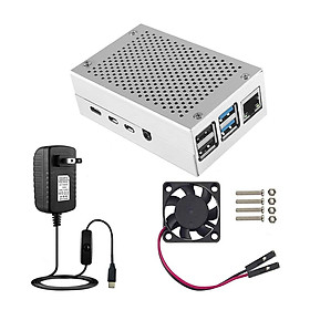 Case for Raspberry Pi 4 with Aluminum Metal Cooling Fan 5V 3A USB-C Power Supply with ON/Off Switch for Raspberry Pi 4