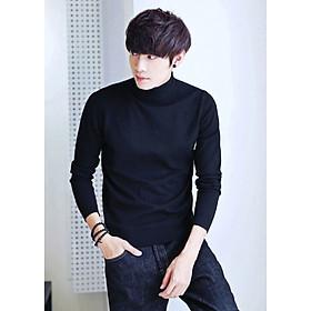 Áo thun len tay dài AT403 đen cổ cao