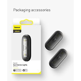 Bộ đèn cảm ứng hình con nhộng nhỏ gọn dùng trong xe ô tô, hộc tủ bàn ghế Baseus Capsule Car Interior Lights ( 2 cái/ bộ)- Hàng chính hãng( giao màu ngẫu nhiên )