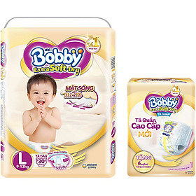 Tã Dán Bobby Extra Soft Gói Đại L30 (30 Miếng) + Tặng thêm 6 miếng