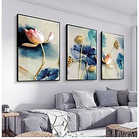 Tranh treo tường Mica Khung nhôm 3 bức Hoa sen trừu tượng tại Bắc Kạn