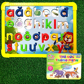 Đồ Chơi Bảng Ghép Học Chữ Nam Châm N-267 Tặng Kèm Bộ 20 Thẻ Flashcards Song Ngữ Cho Bé