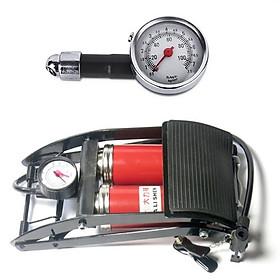 Combo Bơm hơi đạp chân 2 Pitton kèm Đồng hồ đo áp suất lốp xe cơ chuyên dụng cho ô tô xe máy