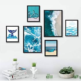 Bộ khung tranh treo tường, treo phòng khách, phòng ngủ hiện đại - Tranh phong cảnh biển - Tặng kèm khung tranh và đinh treo tường - TP162