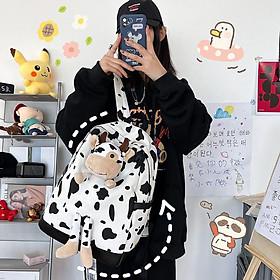 Balo bò sữa canvas ulzzang đi học laptop thời trang sinh viên học sinh cặp