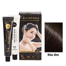 Gội nhuộm phủ bạc thảo dược Richenna EZ Speedy Perfume Hair Color hương nước hoa màu nâu đen 60G