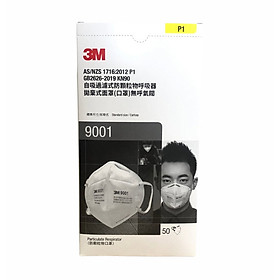 Hộp 50 cái khẩu trang 9001 3M lọc bụi cực tốt, tiêu chuẩn P1, lọc tối thiểu 80%