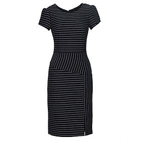 Hình đại diện sản phẩm Đầm Nữ Sọc Ôm Tay Con Xẻ Đùi K&K Fashion HL04-39 - Đen