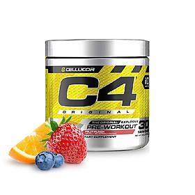 Pre-Workout siêu mạnh C4 Original của Cellucor hương Fruit Punch hỗ trợ Tăng Sức Bền, Sức Mạnh đốt mỡ giảm cân 30 lần dùng
