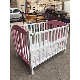 Giường cũi màu Trắng Hồng cao cấp cho bé - 70x110x90