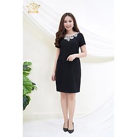 Đầm Thiết kế Đầm xòe Đầm thời trang công sở Đầm trung niên thương hiệu TTV88 màu đen - Đầm suông cổ kết đá C.T