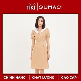 Đầm cổ trắng nút bọc GUMAC DA1254