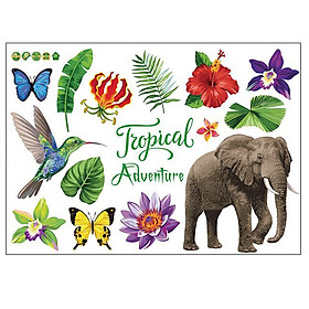Decal dán tường Tropical Adventure Voi SK7171