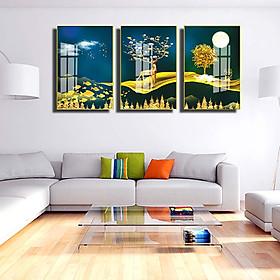 Bộ 3 tranh mica cao cấp Hươu tài lộc nghệ thuật - MK062