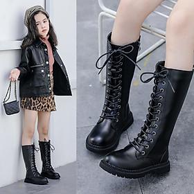 Bốt bé gái 5 - 12 tuổi cổ cao thời trang phong cách Âu Mỹ da mềm lên chân cực sang GC47