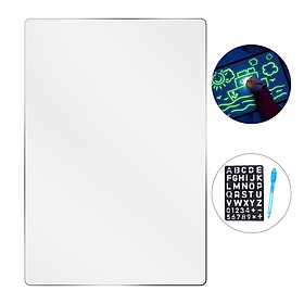 Fluorescent Drawing Board Tablet Light Drawing Pad Writing Board Glow in Dark with Fluorescent Pen Alphabet