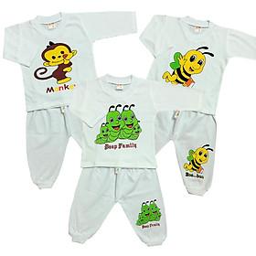 Combo 3 bộ quần áo trẻ em cotton tay dài màu trắng SS-BTDT