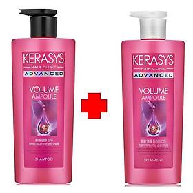 Bộ dầu gội, xả cao cấp chăm sóc chuyên sâu và Collagen phục hồi tóc chắc khỏe KERASYS ADVANCED AMPOULE VOLUME 600ml - Hàn Quốc Chính Hãng