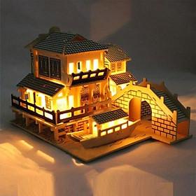 Mô hình lắp ráp nhà kiểu Trung Hoa gỗ 3D trang trí
