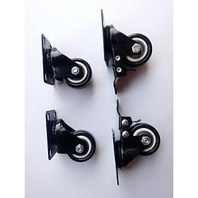 Bộ 4 bánh xe đẩy hàng xoay 360 độ, có khóa chống xoay chống trượt loại 4cm viền đen