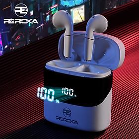 Tai Nghe True Wireless  REROKA-CYBORG Bluetooth V5.0, đeo êm tai, âm thanh sống động, hộp sạc có màn hình led hiển thị  - Hàng chính hãng
