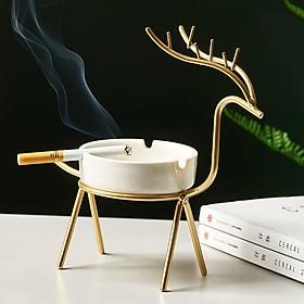 Gạt tàn thuốc bằng sứ, khung sắt đỡ sơn vàng uốn hoa văn hình hươu tinh xảo