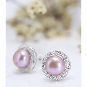 Bông Tai Bạc Ngọc Trai Cho Nữ Ánh Tím B-1304 Tím Bảo Ngọc Jewelry