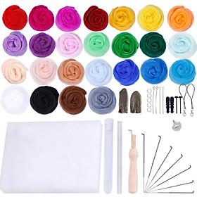 Bộ len 25 màu cùng dụng cụ đan len tiện dụng