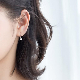 Khuyên tai bông tai nữ bạc s925 tròn móc ngôi sao tua rua