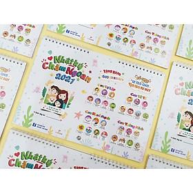 Nhật Ký Chăm Ngoan - Lịch 2021 kèm 640 STICKER Khen Thưởng để dán vào lịch siêu dễ thương cho bé
