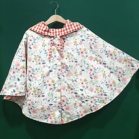 Áo khoác chống nắng cho bé gái 4 mùa kiểu áo cánh dơi poncho  mẫu hoa nhí hồng cam nhạt dễ thương
