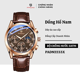 Đồng hồ nam PAGINI dây da 6 kim – Kính đổi màu – Thiết kế sang trọng, lịch lãm – PADN2233X