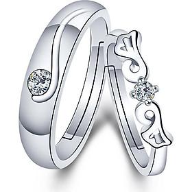 Nhẫn cặp Đôi cánh thiên thần đính pha lê - Trang sức bạc Panmila [TS-ND-A9]