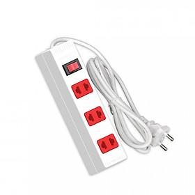Ổ cắm Điện Quang ECO ĐQ ESK 2WR 32 ECO (3 lỗ 2 chấu, dây dài 2m, màu trắng đỏ)