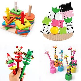 Set 4 món đồ chơi gỗ giúp bé phát triển kĩ năng sớm