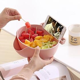 Rổ đựng trái cây 2 trong 1 tiện lợi có khe để điện thoại thông minh (Giao màu ngẫu nhiên)