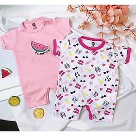 Set 2 áo liền quần áo cho bé sơ sinh, đồ sơ sinh mùa hè