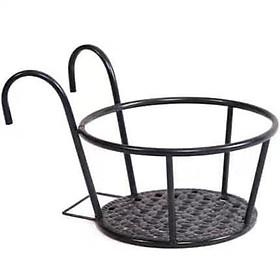 Giỏ treo chậu hoa ban công hình tròn bằng sắt màu đen tiện lợi
