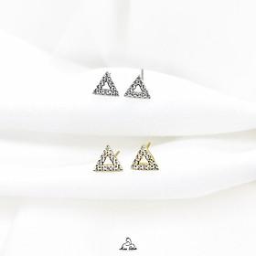 Khuyên tai nữ tam giác đính đá mạ vàng 14K và bạc 925 nguyên bản, bông tai Miuu Silver