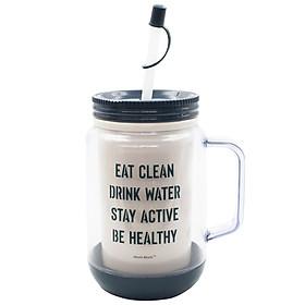 Ca Nước Giữ Nhiệt Có Ống Hút 354 - Mẫu 4 - Eat Clean - Xanh Đậm