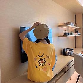 Áo thun tay lỡ nữ freesize phông form rộng Unisex, mặc cặp, nhóm, lớp in hình hoa cúc - TRĂNG SAO