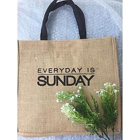 Túi vải đay cao cấp in chữ everyday is SUNDAY thân thiện môi trường, túi thời trang công sở, du lịch, dạo phố