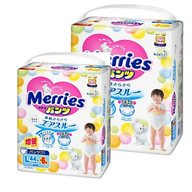[Combo 2] Bỉm - Tã quần Merries cộng miếng size L 44+6 miếng (Cho bé 9~14kg)